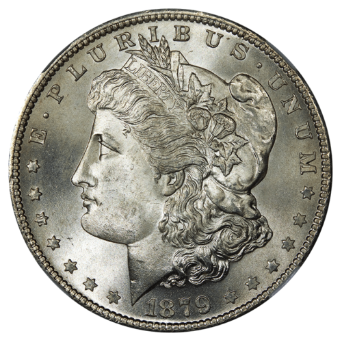 Obverse side of a Morgan Silver Dollar