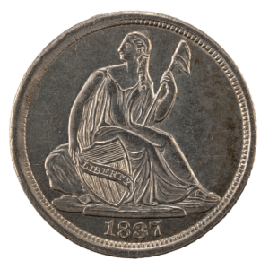 Seated Liberty Half Dime No Stars Variety, obverse side