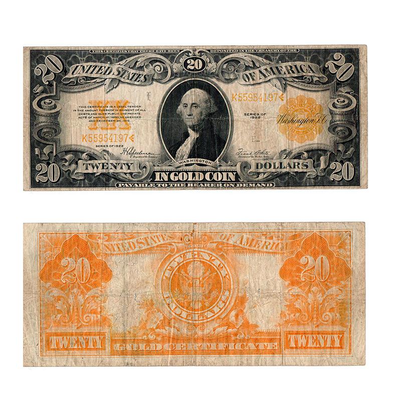 1922 $20 Gold Certificate - Rocky Mountain Coin   Rocky Mountain Coin